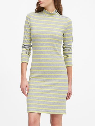 Turtleneck Ribbed-Knit Dress with Zipper in Gray Stripe