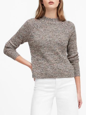 Marled Mock-Neck Sweater in Natural