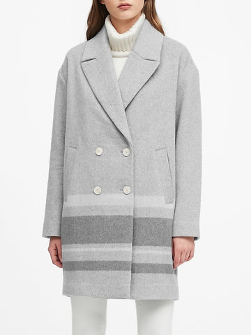 Double-Faced Cocoon Coat in Heather Gray