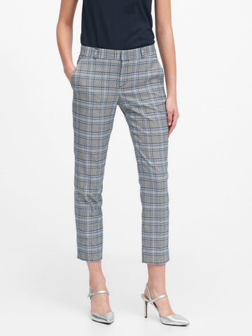 Avery Straight-Fit Plaid Ankle Pant in Blue Plaid