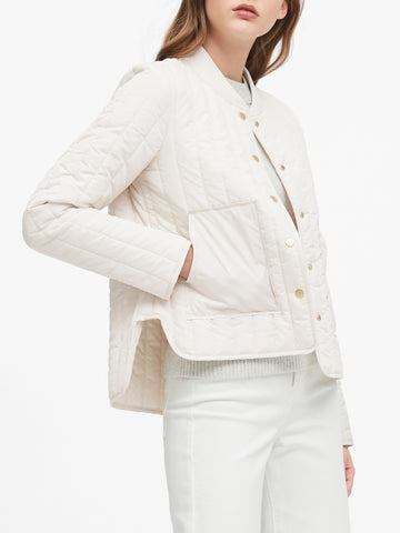 Water-Resistant Quilted Jacket in Sand Beige