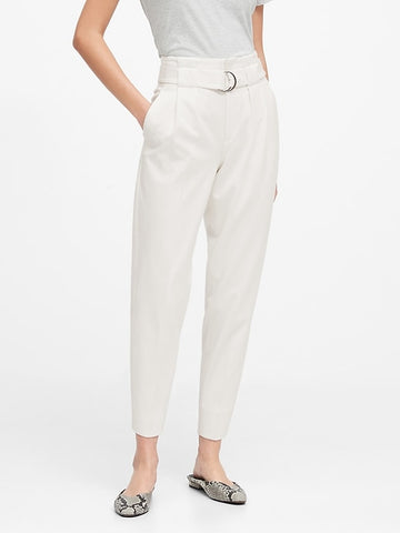 High-Rise Paper-Bag Pant in White