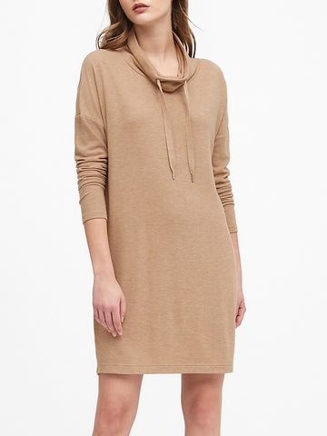 Plush Jersey Funnel-Neck Dress in Camel