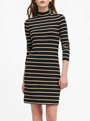 Turtleneck Ribbed-Knit Dress with Zipper in Camel & Black