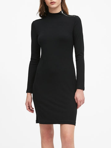 Turtleneck Ribbed-Knit Dress with Zipper in Black