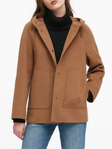 Double-Faced Hooded Jacket in Toasted Marshmallow