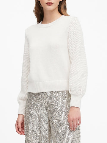 Cotton-Blend Balloon-Sleeve Sweater in Ivory White