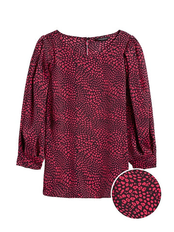 Puffy-Sleeve Blouse in Pink Print