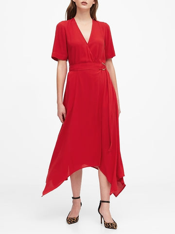 Handkerchief-Hem Wrap Dress in Ultra Red