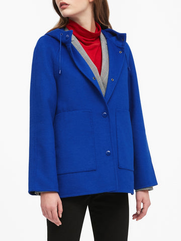 Double-Faced Hooded Jacket in Cobalt Blue