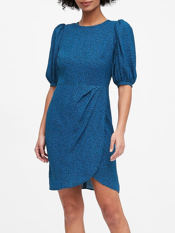 Puff-Sleeve Sheath Dress in New Blue Print