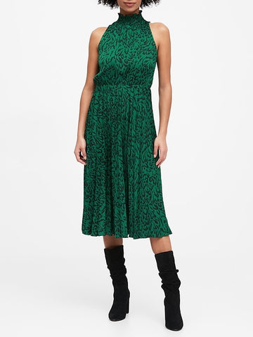 Satin Pleated Midi Dress in Green Print