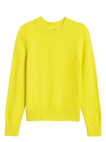 Supersoft Cotton Crew-Neck Sweater in Citron Yellow