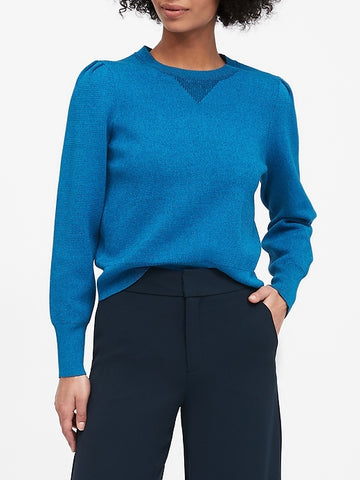 Puff-Sleeve Sweater Top in New Year New Blue