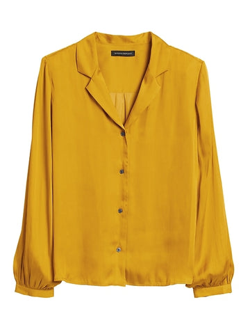 Soft Satin Camp-Collar Blouse in Mustard Yellow