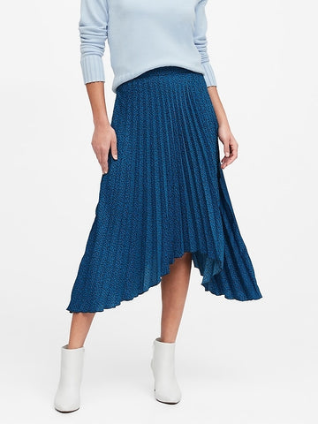 Pleated High-Low Skirt in New Blue Print