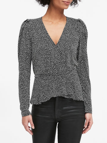 Peplum Wrap Top in Black & White