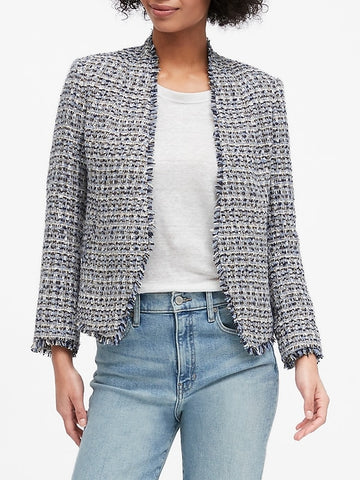 Collarless Metallic Tweed Blazer in Coastal Blue
