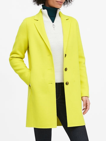 Unlined Double-Faced Topcoat in Neon Yellow