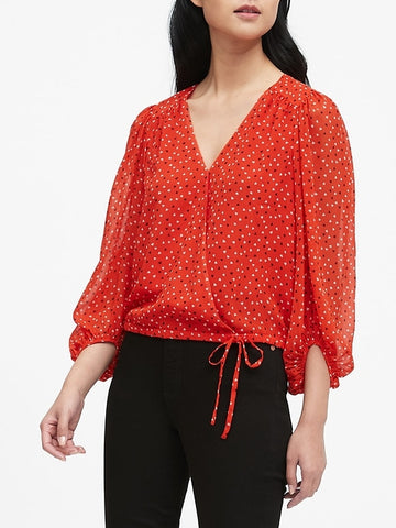 Puff-Sleeve Wrap Top in Red Heart Print