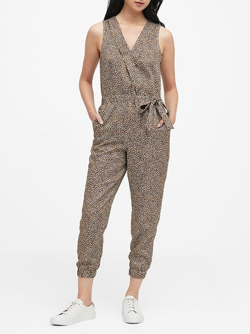 TENCEL Wrap Jumpsuit in Leopard Print