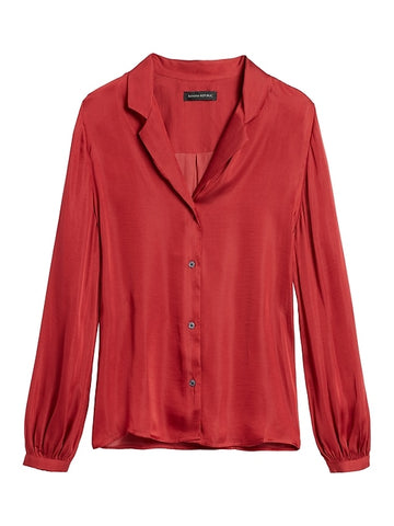Soft Satin Camp-Collar Blouse in Brick Red
