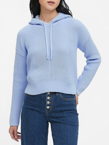Cropped Sweater Hoodie in Davenport Blue