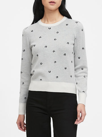 Merino-Blend Puff-Sleeve Sweater in White & Black Horseshoe