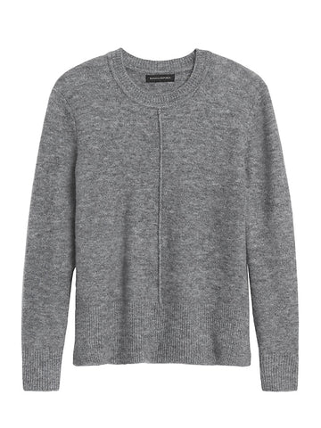 Merino-Blend Boxy Sweater in Heather Gray