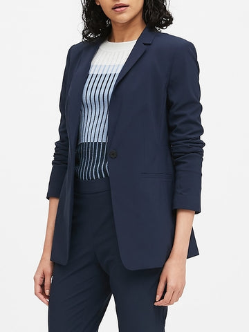 Long & Lean-Fit Performance-Stretch Blazer in Navy