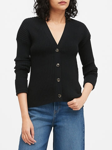 Boxy Cardigan Sweater in Black