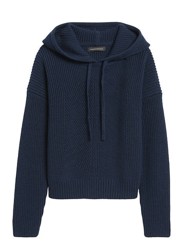 Cropped Sweater Hoodie in Navy