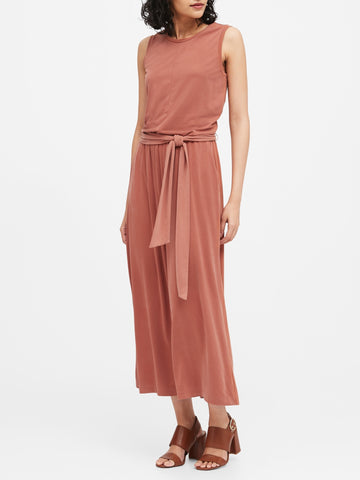 Sandwash Modal Cropped Jumpsuit in Terracotta Pink
