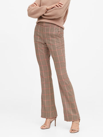 High-Rise Flare Plaid Pant in Brown