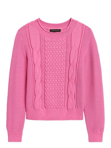Cable-Knit Cropped Sweater in Bright Pink Sweater