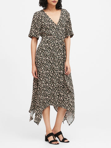 Handkerchief-Hem Wrap Dress in Sandy Beige Dot