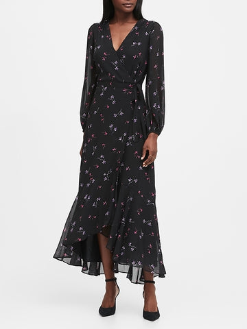 Maxi Wrap Dress in Black Floral