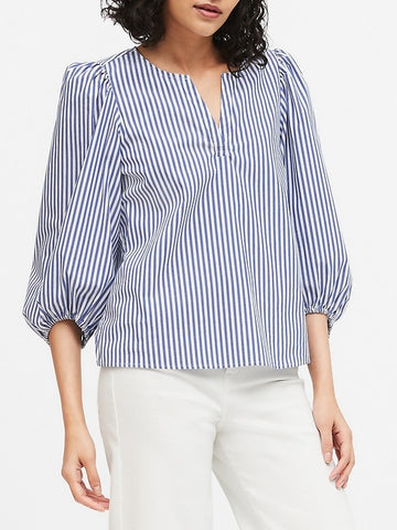 Poplin Puff-Sleeve Blouse in White Stripe