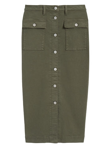Denim Utility Midi Skirt in Dark Olive Green