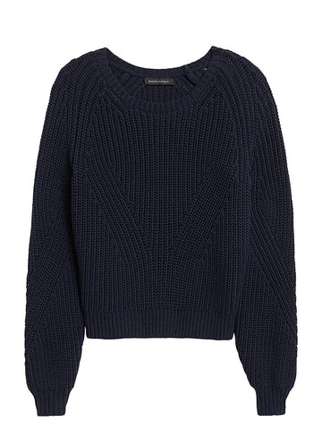 Cropped Scoop-Neck Sweater in Navy