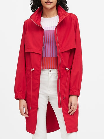 Water-Repellent Long Rain Jacket in Ultra Red