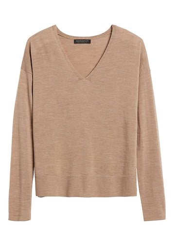 Merino Boxy Sweater in Camel