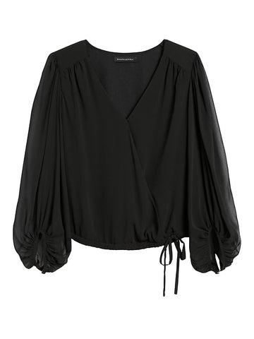 Puff-Sleeve Wrap Top in Black