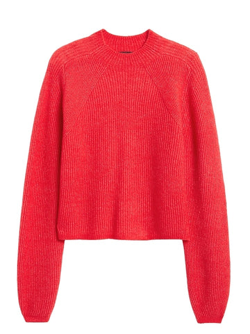 Aire Cropped Puff-Sleeve Sweater in Radiant Raspberry