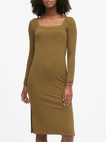 Ribbed Square-Neck T-Shirt Dress in Cindered Olive Green