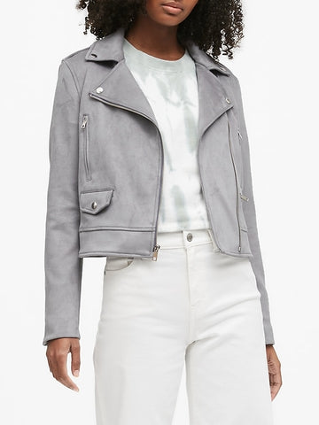 Vegan Suede Moto Jacket in Chrome Gray