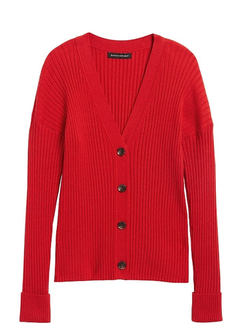 Boxy Cardigan Sweater in Hot Red