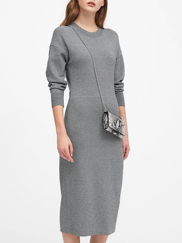 Dolman-Sleeve Sweater Dress in Gray Marl