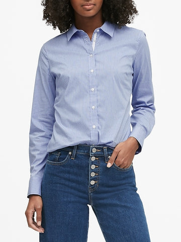 Riley Tailored-Fit Shirt in Blue Stripe