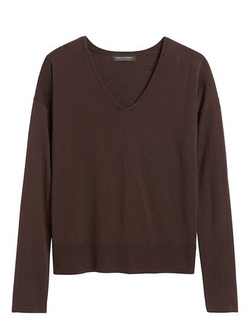 Merino Boxy Sweater in Brown Bark